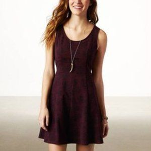 American Eagle Burgundy Sleeveless Skater Dress